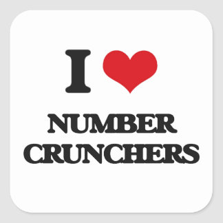 I Love Number Crunchers Square Stickers
