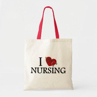 I Love Nursing Budget Tote Bag