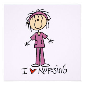 I Love Nursing T-shirts and Gifts 13 Cm X 13 Cm Square Invitation Card