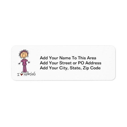 I Love Nursing T-shirts and Gifts Return Address Label