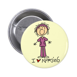 I Love Nursing Tshirts and Gifts 6 Cm Round Badge