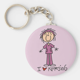 I Love Nursing Tshirts and Gifts Basic Round Button Key Ring