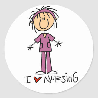 I Love Nursing Tshirts and Gifts Classic Round Sticker