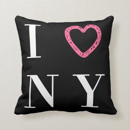 I Love NY reversible pillow - black, white,