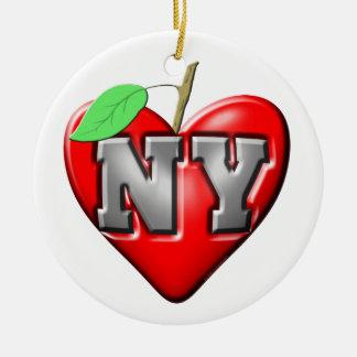 I Love NY Round Ceramic Decoration