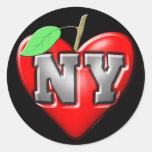 I Love NY Round Stickers