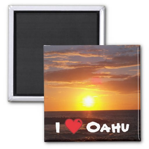 I Love Oahu Square Magnet