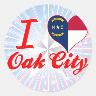 I Love Oak City, North Carolina Stickers