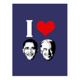 I Love Obama Biden Postcard
