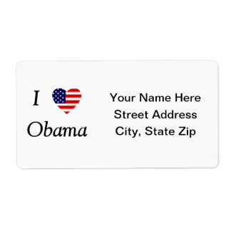 I Love Obama (flag heart) Shipping Label