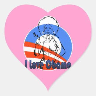I Love Obama Pink Hart Heart Stickers