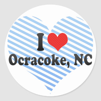 I Love Ocracoke, NC Round Stickers