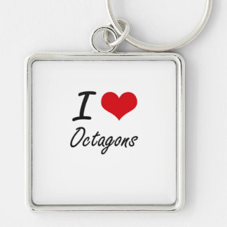 I Love Octagons Silver-Colored Square Key Ring