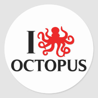 I Love Octopus Round Sticker