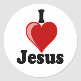 I Love of Jesus Gifts Round Stickers