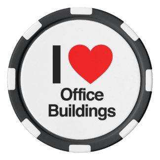 i love office buildings poker chip set