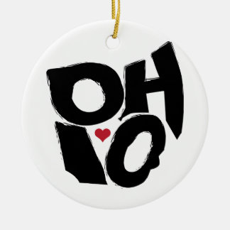 I Love Ohio State Map Art Christmas Ornament