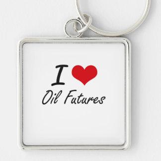 I Love Oil Futures Silver-Colored Square Key Ring