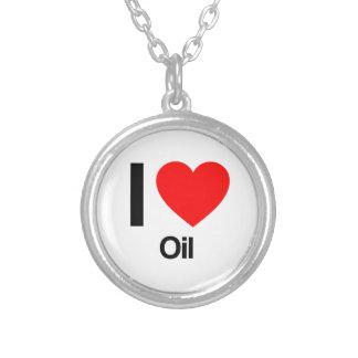i love oil round pendant necklace