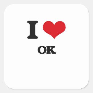 I Love Ok Square Stickers