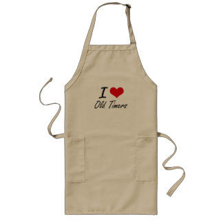 I Love Old-Timers Long Apron