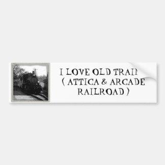 I love old trains - Arcade and Attica Railroad Car Bumper Sticker