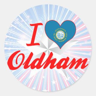 I Love Oldham, South Dakota Round Stickers