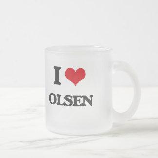I Love Olsen Frosted Glass Mug