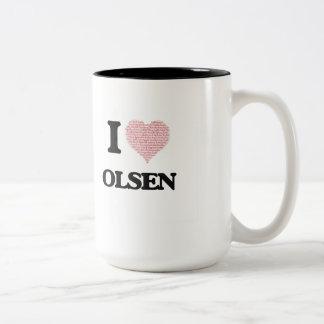 I Love Olsen Two-Tone Mug