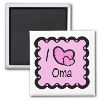 I Love Oma Cute T-Shirt Square Magnet