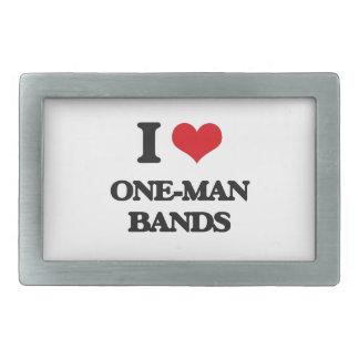 I love One-Man Bands Rectangular Belt Buckle