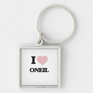 I Love Oneil Silver-Colored Square Key Ring