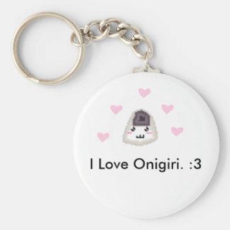 I love Onigiri Basic Round Button Key Ring
