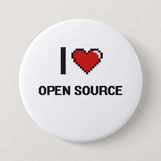 I Love Open Source Digital Retro Design 7.5 Cm Round Badge