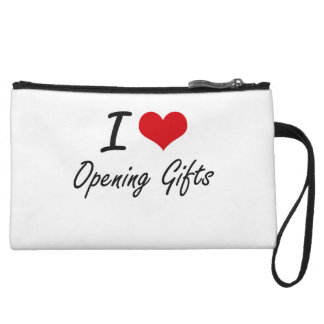 I Love Opening Gifts Wristlet Clutch