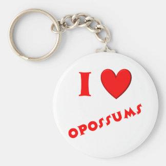 I Love Opossums Key Chain