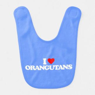 I LOVE ORANGUTANS BIBS