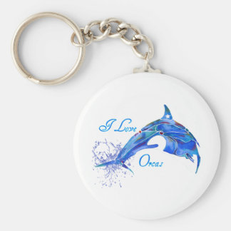 I LOVE ORCAS BLUE BASIC ROUND BUTTON KEY RING