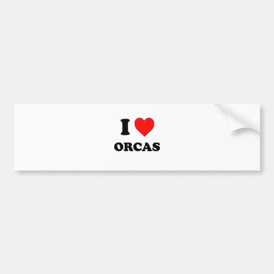 I Love Orcas Bumper Sticker