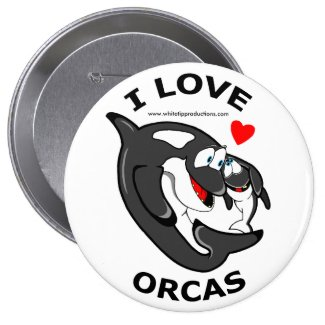 I love Orcas fun badge Pinback Button