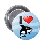 I Love Orcas Pinback Buttons