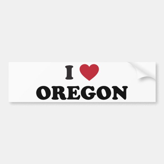 I Love Oregon Bumper Sticker