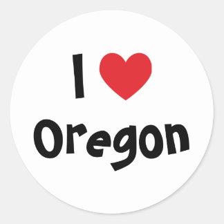 I Love Oregon Classic Round Sticker