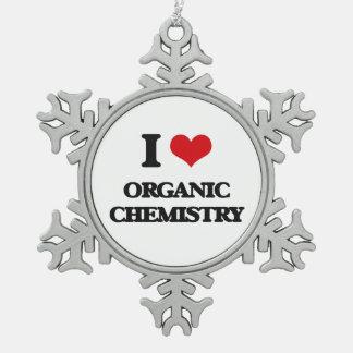 I Love Organic Chemistry Snowflake Pewter Christmas Ornament