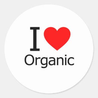 I Love Organic Round Sticker