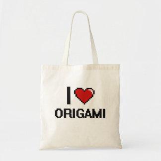 I Love Origami Digital Retro Design Budget Tote Bag