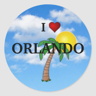 I LOVE ORLANDO - PALM TREE AND SUNSHINE ROUND STICKER