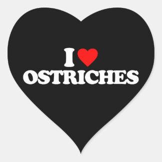 I LOVE OSTRICHES HEART STICKER