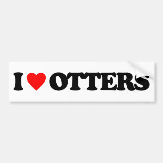 I LOVE OTTERS BUMPER STICKER