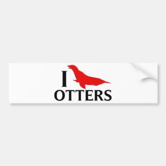 I Love Otters, I Love Sea Lions Bumper Sticker